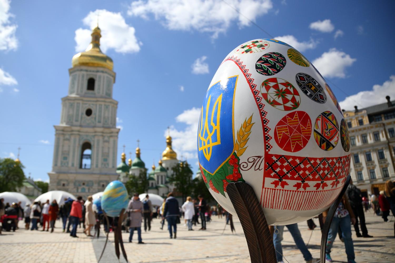 Kiev Easter eggs festival. April 2017. Sophia sq.