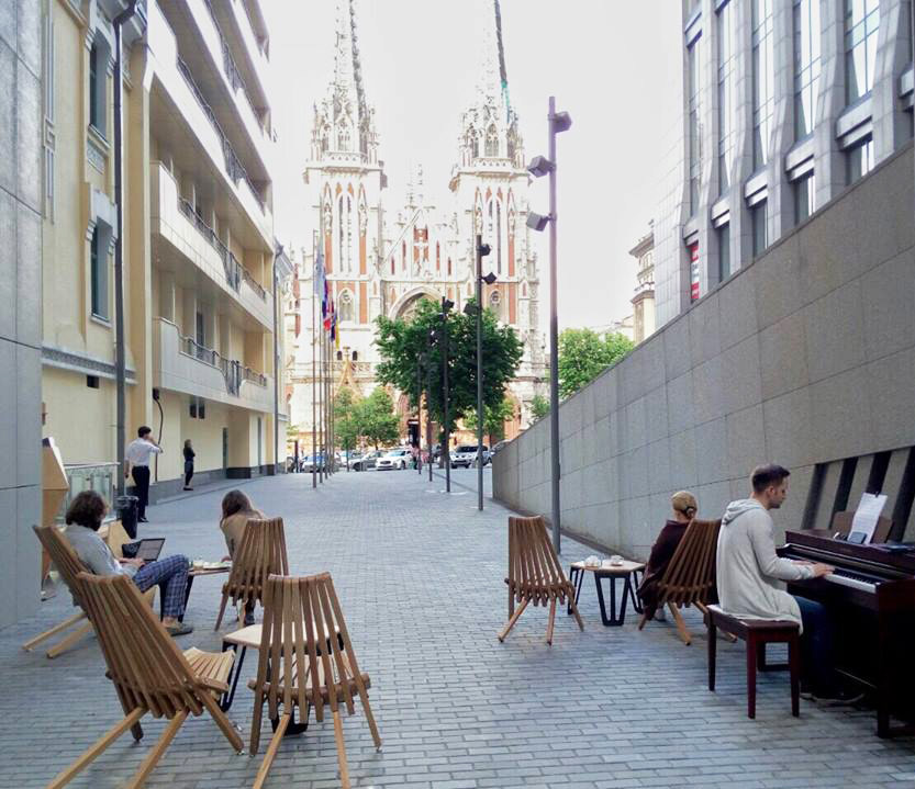 Cafe with outstanding view on the Catholic Cathedral by V. Gorodetzky