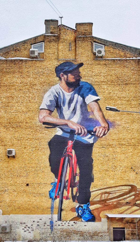 Byciclist, mural in Kiev
