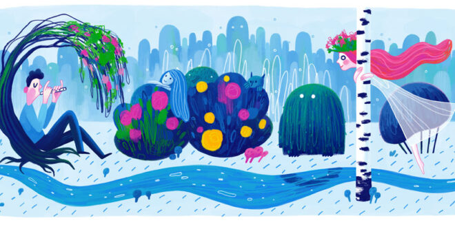 Lesya Ukrainka's 145th birthday. Google dodle